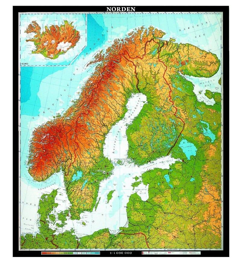 kart over europa med målestokk Klasseromskart: Norden   FYBIKON kart over europa med målestokk